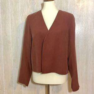 Eileen Fisher Cropped Open Front Silk Blazer